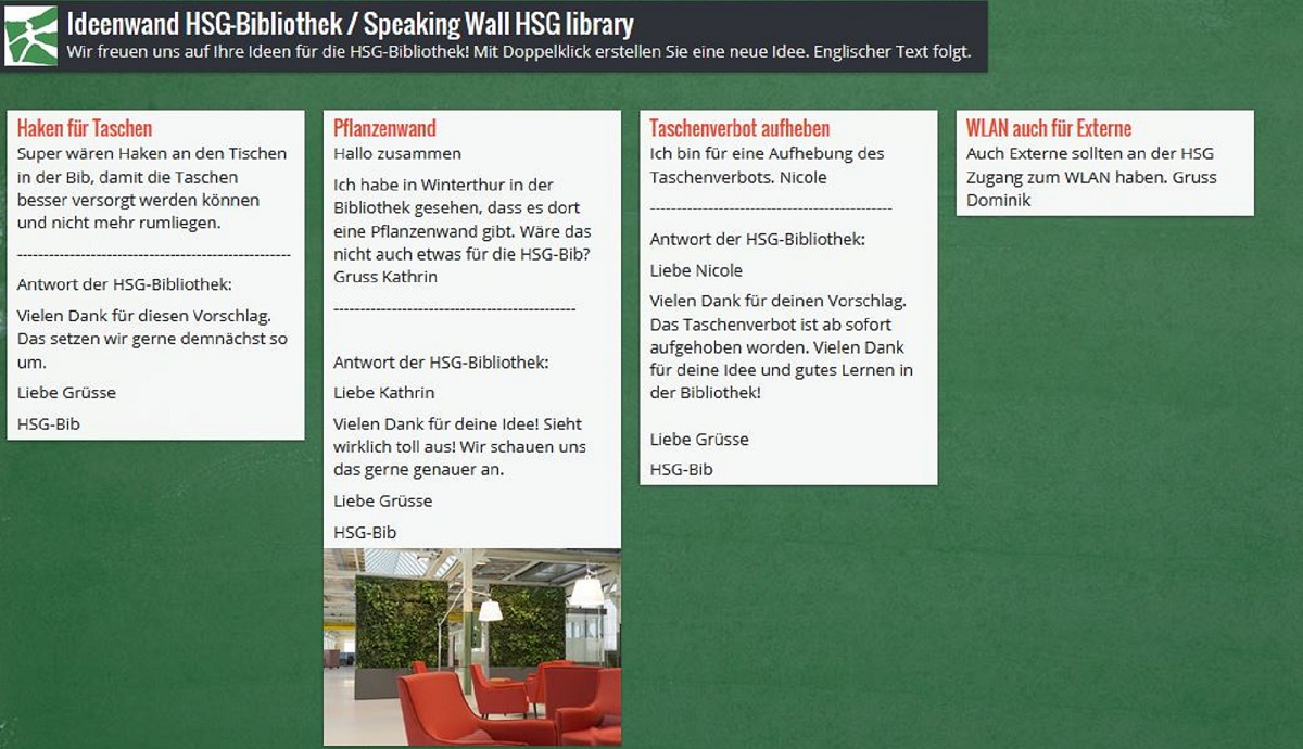 Screenshot Speaking Wall of the HSG Library on Padlet