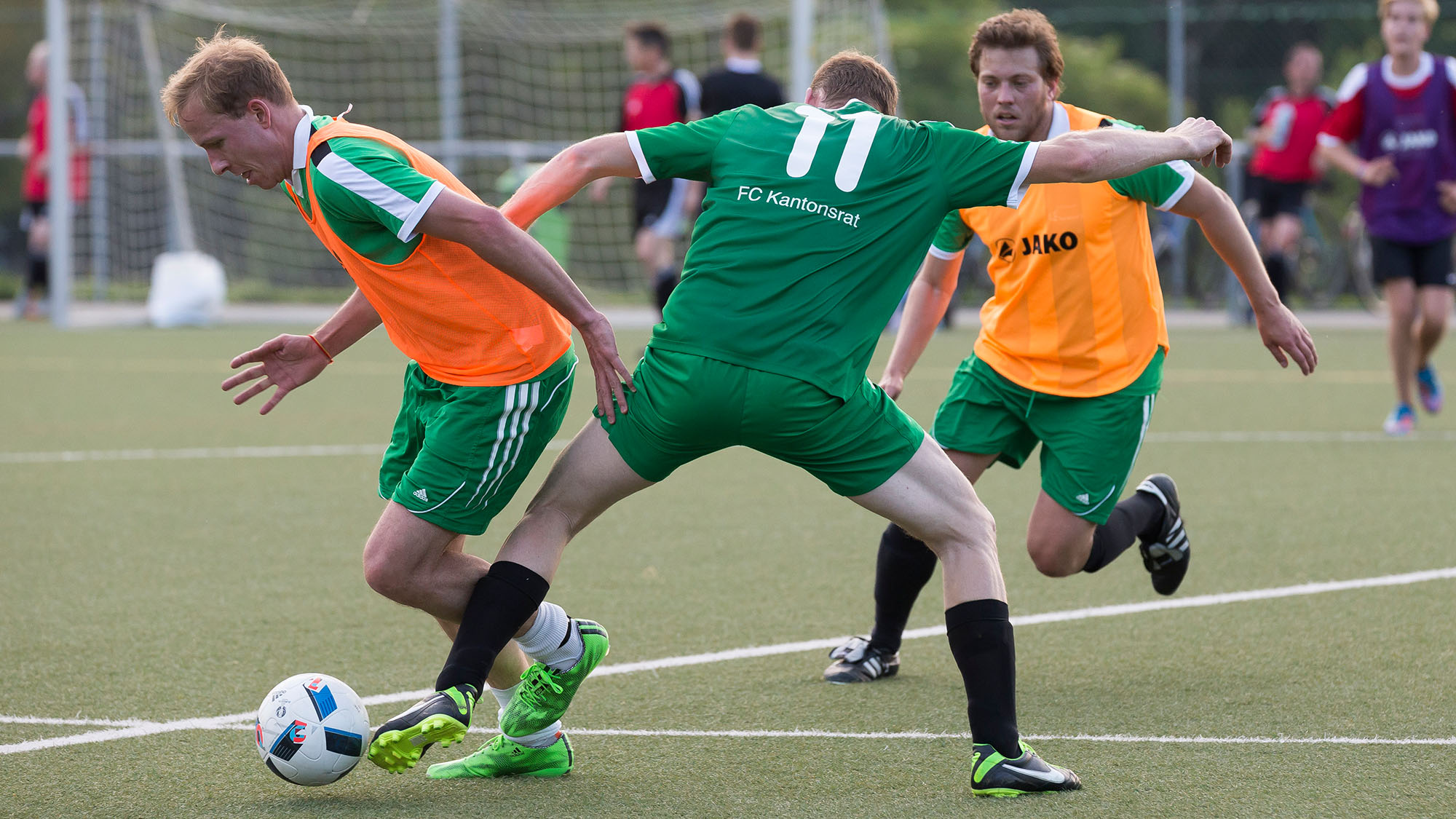 Soccers fight for the ball