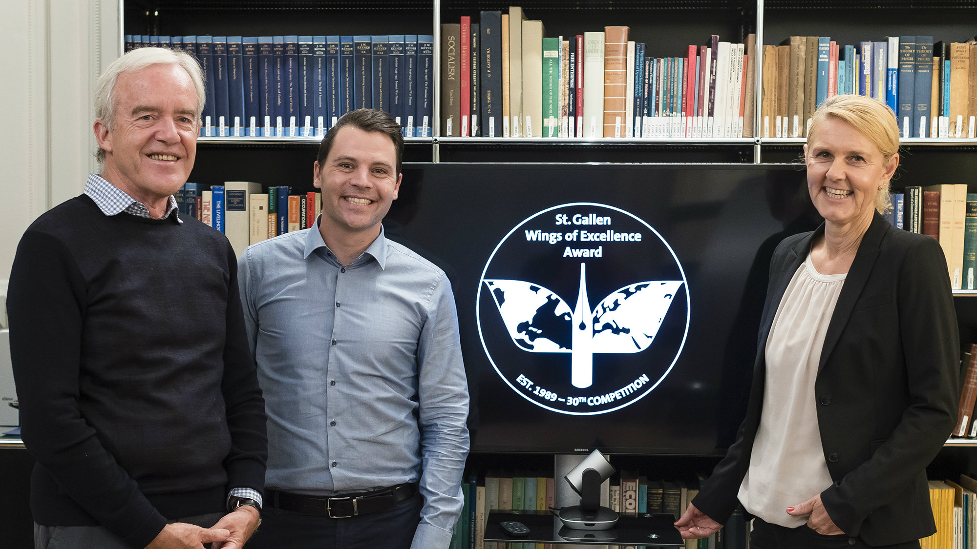 St. Gallen Wings of Excellence Award celebrates its 30th competition: (from left: Günter Müller-Stevens, Rolf Bachmann, Heike Bruch