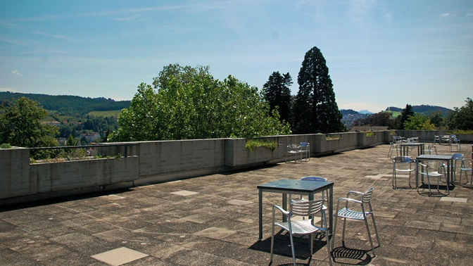 Terrace of the main building of the University of St.Gallen in summer
