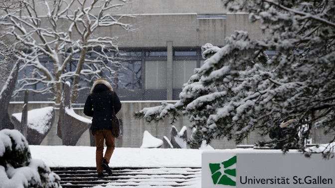 Winter on campus at the University of St.Gallen (HSG).
