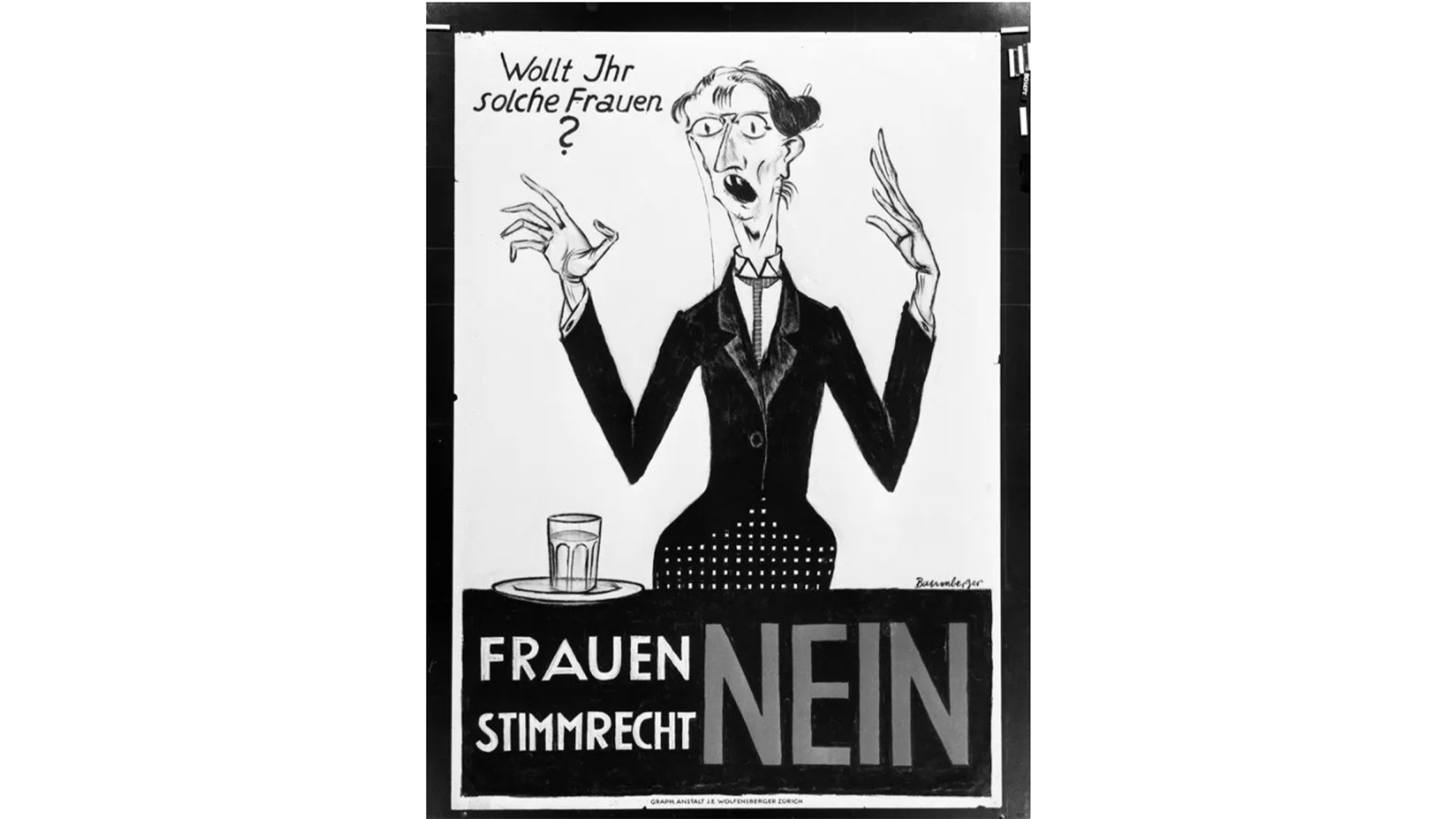 Voting poster with the no-parole for the introduction of women's voting rights, designed by Otto Baumberger. The 1920 poster was used in the cantons of Basel-Stadt and Zurich.