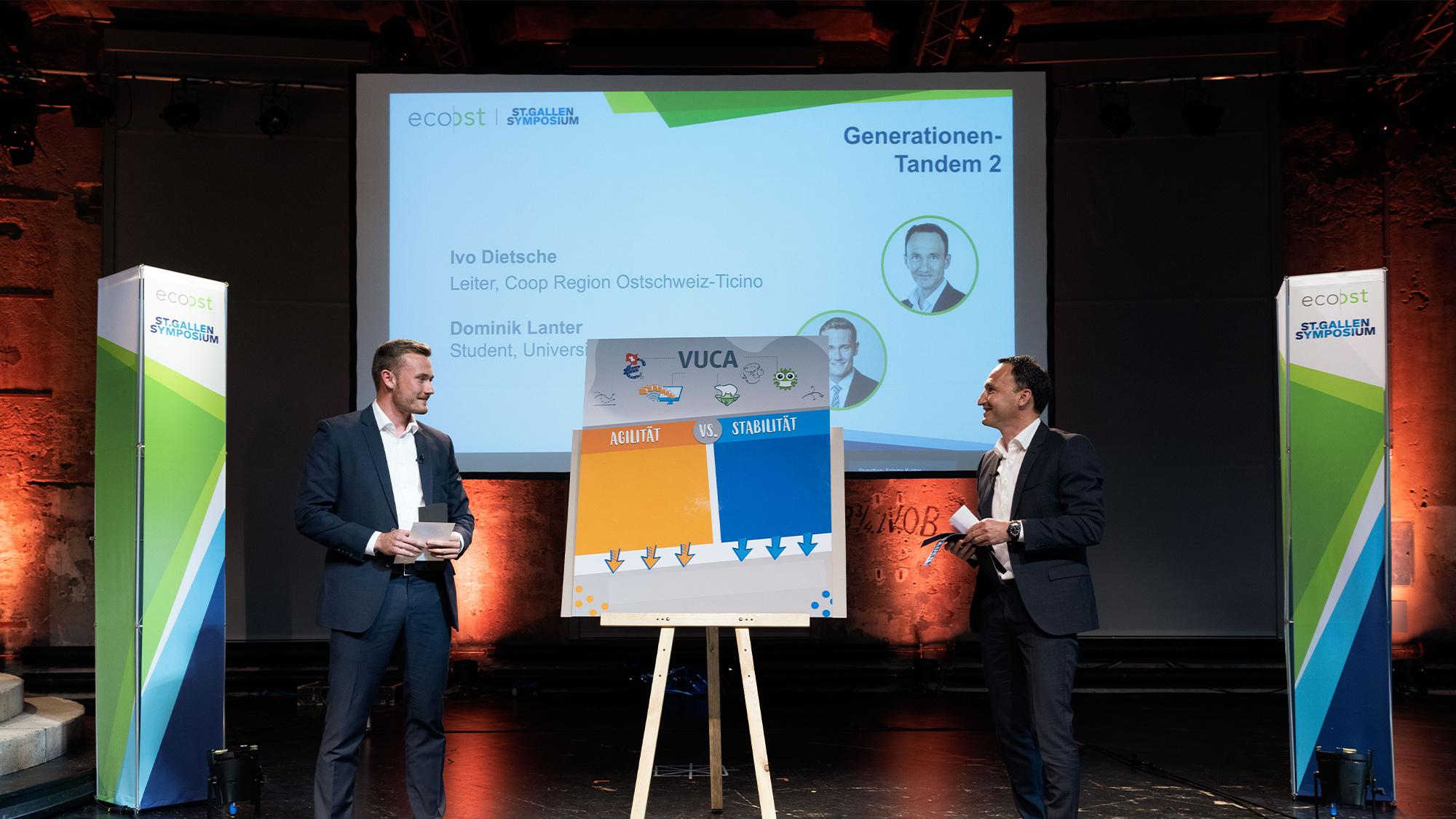 Ivo Dietsche und Dominik Lanter am EcoOst St.Gallen Symposium 2021