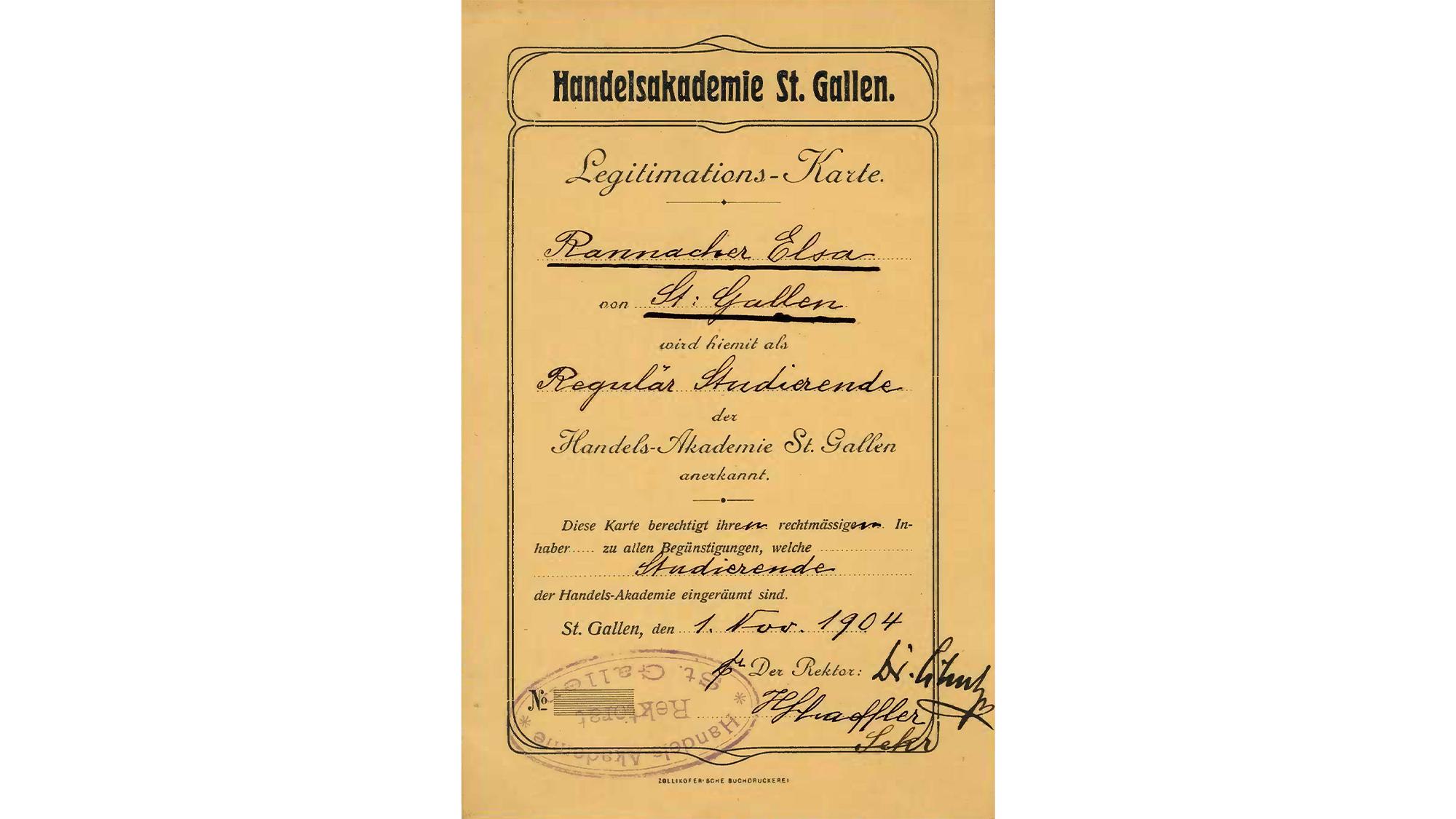 Elisabeth Rannacher - first graduate of the HSG