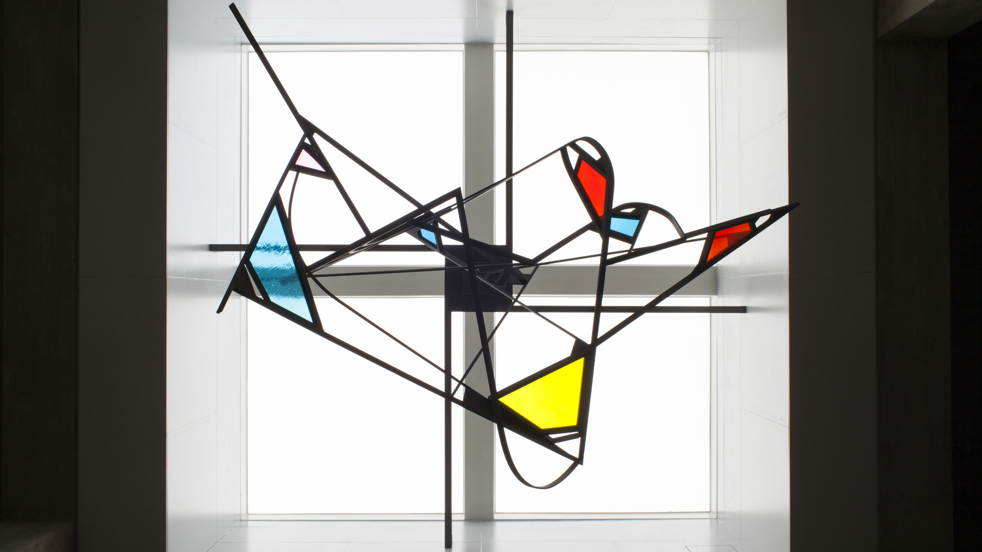 Art by Walter Bodmer, untitled, coloured glass, at the University of St.Gallen (HSG)