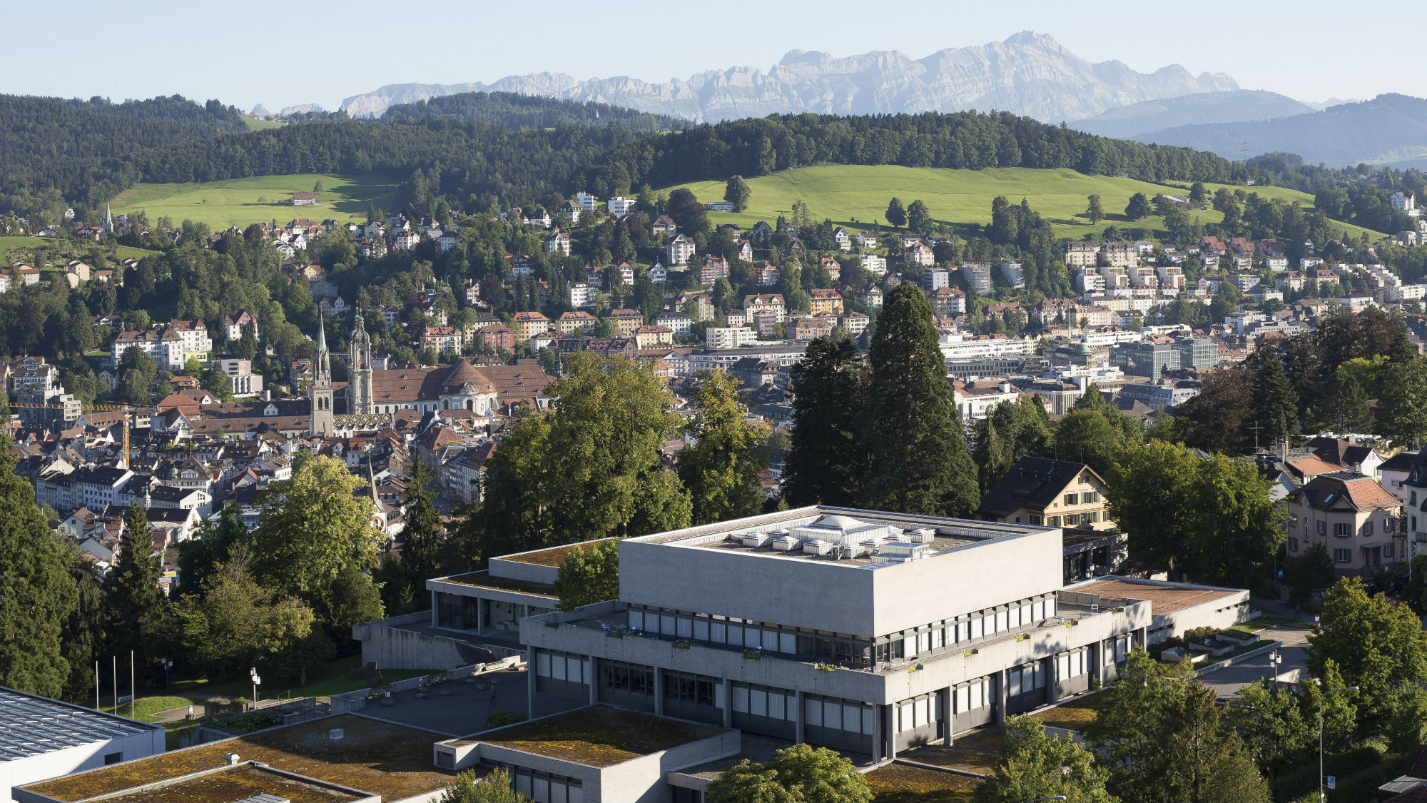 Aerial photograph with the main focus on the Main Building of the University of St.Gallen (HSG)