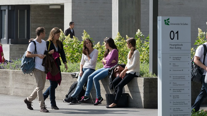 students on the campus