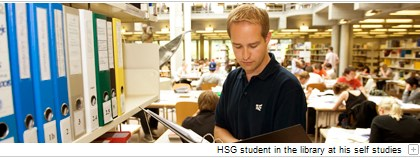 HSG student in the library at his self studies.