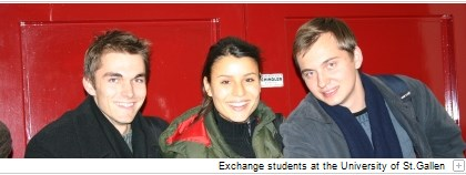 Exchange students at the University of St.Gallen.