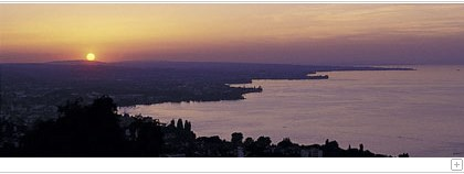 View over lake constance at dawn