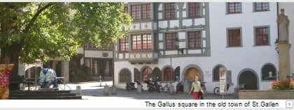 The Gallus square in the old town of St.Gallen.
