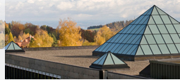 View onto the roof of the university's Library Building with its glass pyramids.