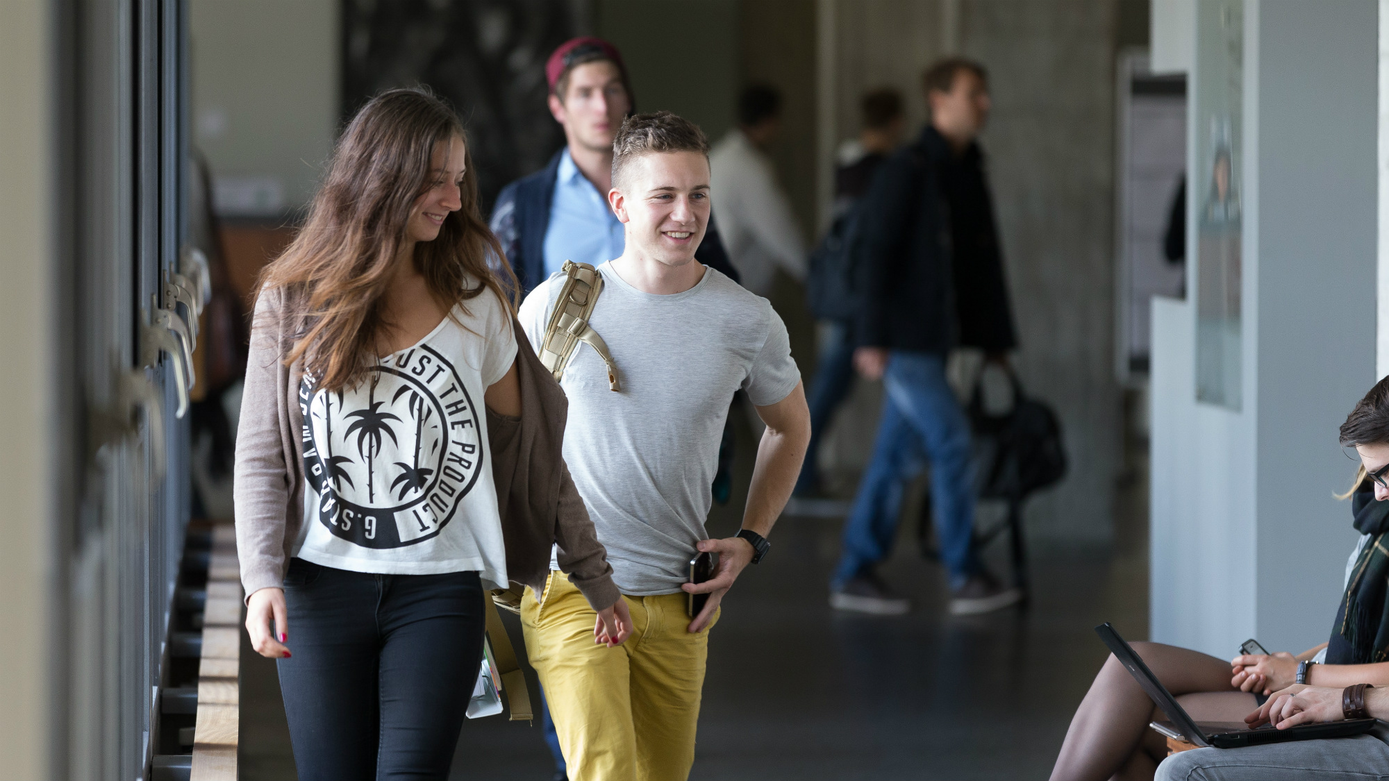 Students in the Main Building at the University of St.Gallen (HSG)