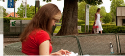 Female student sitting on a bench reading a book