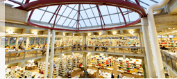 Perspective view of the glass dome and the bookshelves inside of the university library.